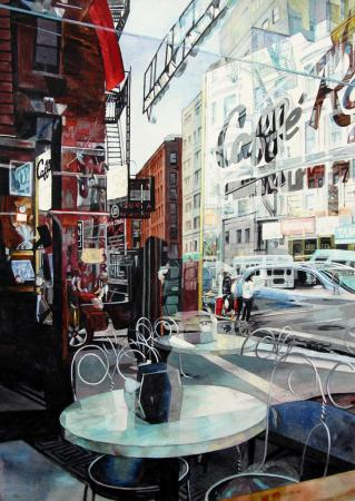 Window reflection, coffeehouse in NYC